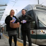 Stephanie Moss-Pearce – Assistant Marketing Manager, NET and Jamie Swift – Head of Marketing, NET at Beeston Centre tram stop.